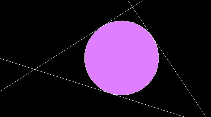3本の線分に接する円