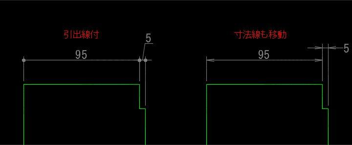 寸法値を移動すると寸法線も移動した場合
