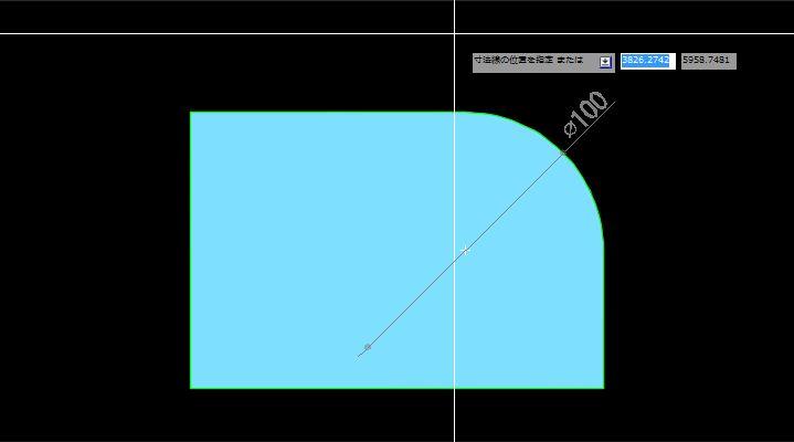 直径寸法を記入する場所の指定