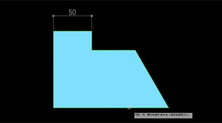角度寸法記入の一本目を指定