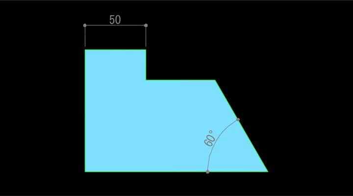角度寸法が記入された状態