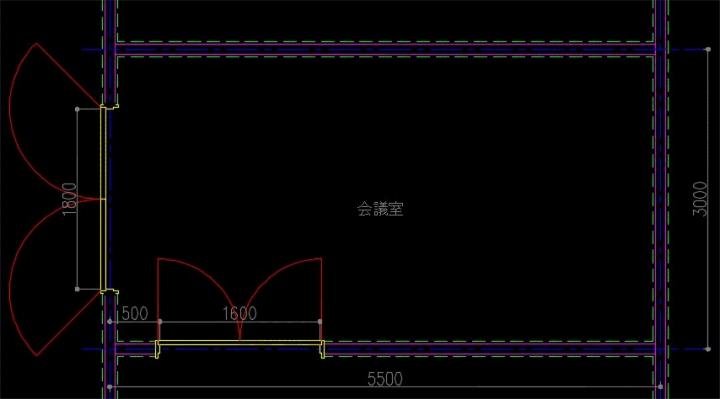 画層の線種を点線に変えた状態